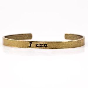 I Can - Brass Bangle Bracelet